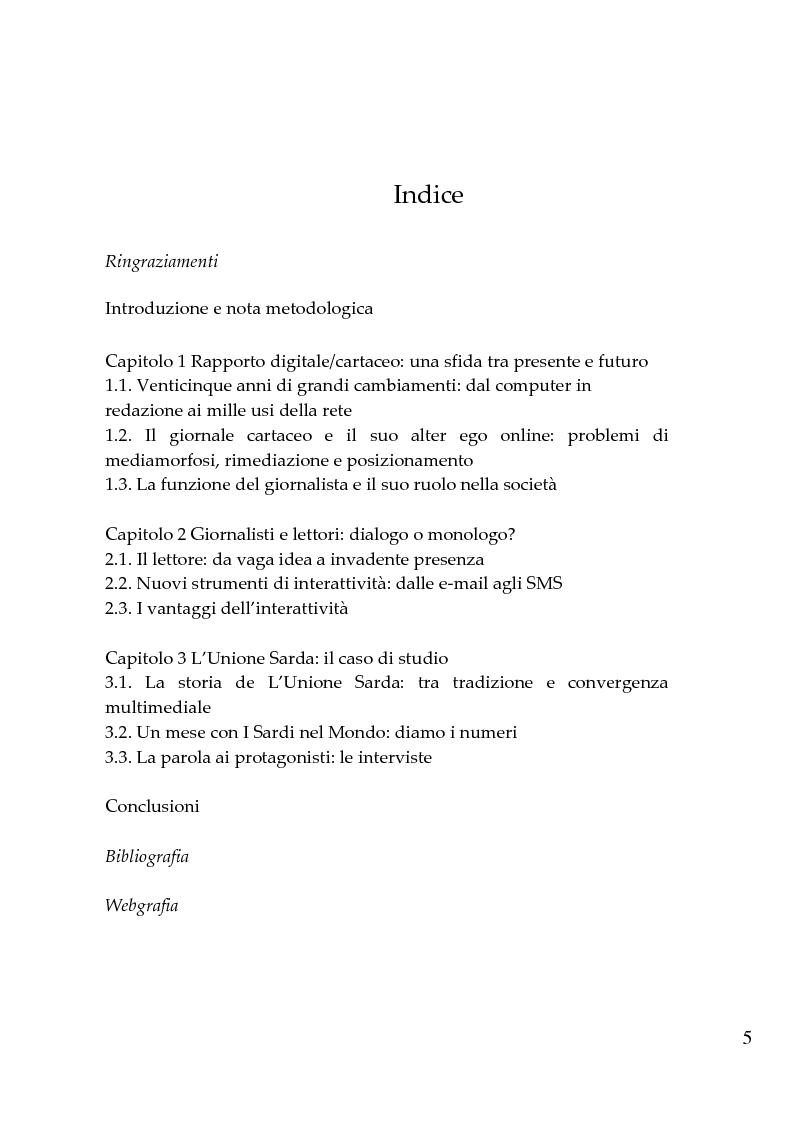Indice della tesi: Giornalismi convergenti - Il caso de L'Unione Sarda, Pagina 1