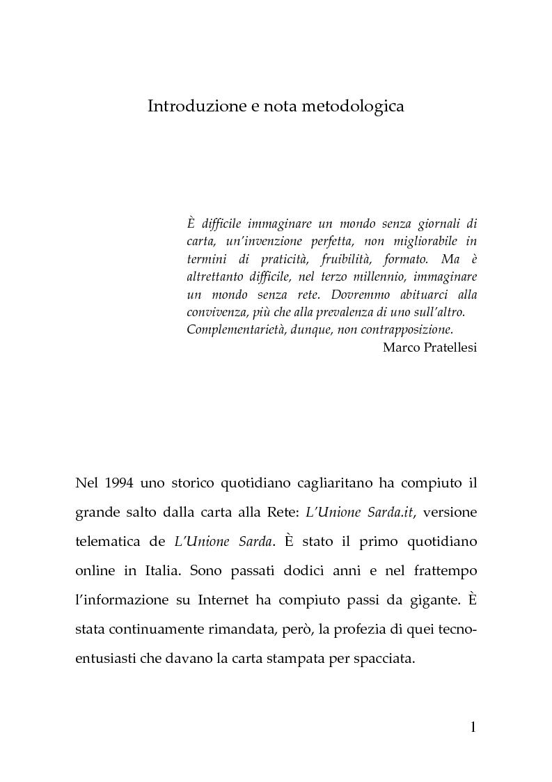 Anteprima della tesi: Giornalismi convergenti - Il caso de L'Unione Sarda, Pagina 1