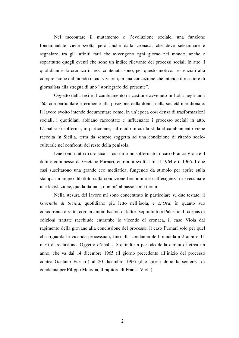 Anteprima della tesi: Costume e società, la rivoluzione siciliana. Dal caso Viola al delitto d'onore, le grandi svolte degli anni '60 viste dai giornali, Pagina 2