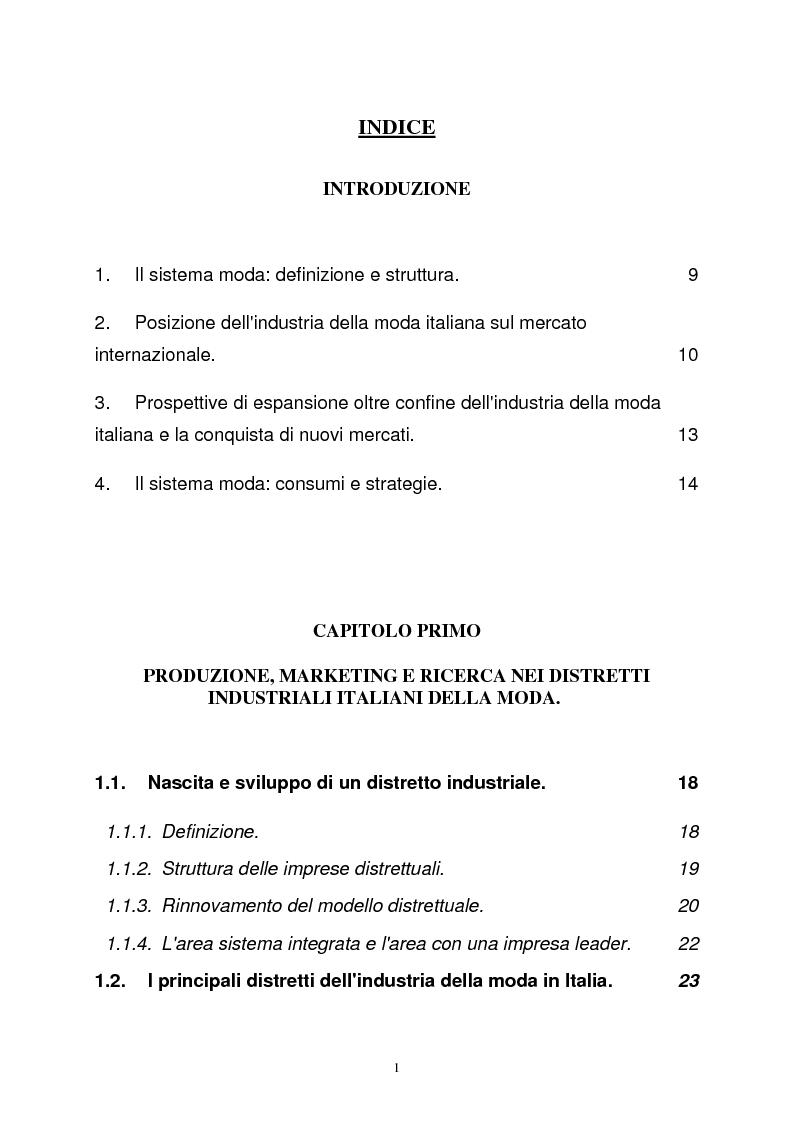 Indice della tesi: L'industria della moda (il caso italiano e alcuni confronti internazionali), Pagina 1