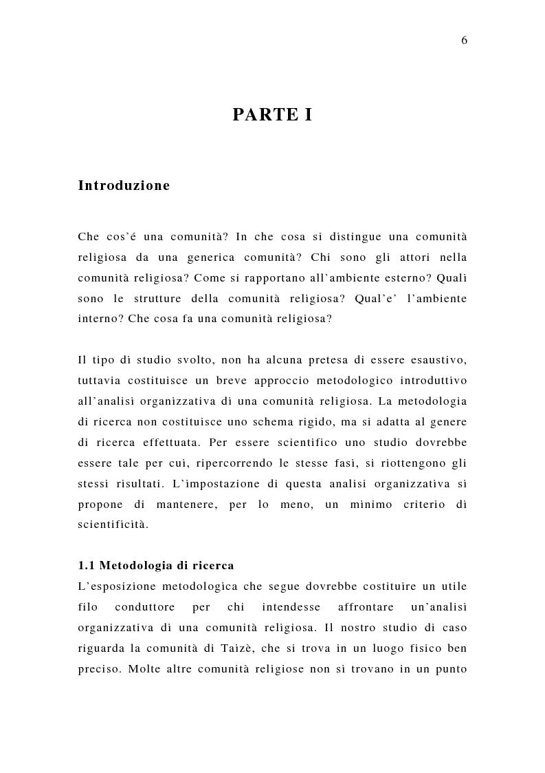 Anteprima della tesi: Analisi organizzativa di una comunità religiosa: Caso di Taizè, Pagina 1