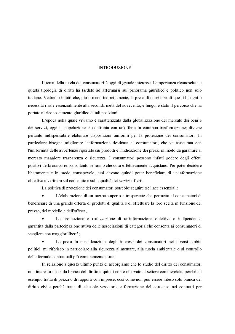 Anteprima della tesi: Il nuovo codice del consumo, Pagina 1