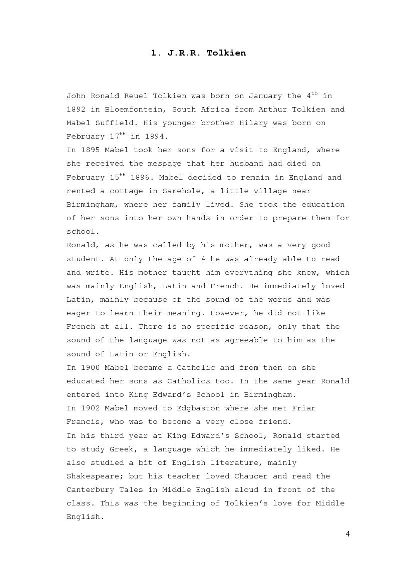 Anteprima della tesi: Tolkien and the myth: an analysis of The Silmarillion, Pagina 2