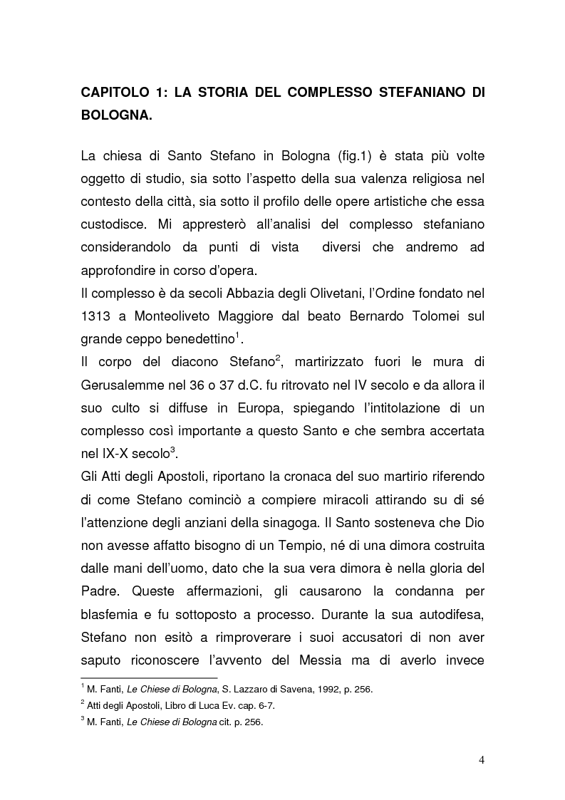 Anteprima della tesi: Alcuni affreschi bizantineggianti in Santo Stefano a Bologna, Pagina 1