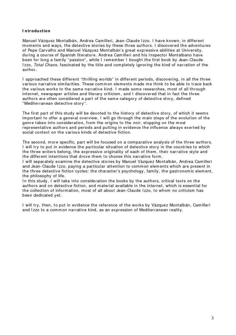 Anteprima della tesi: When the Mediterranean hosts a detective story: Manuel Vázquez Montalbán, Andrea Camilleri, Jean-Claude Izzo, Pagina 1