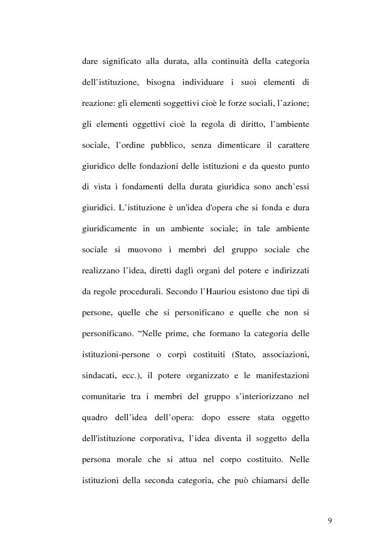 Anteprima della tesi: La Teoria dell'Istituzione tra Diritto e Politica, Pagina 9