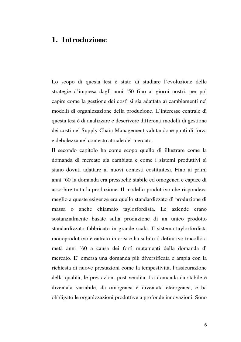 Anteprima della tesi: La gestione dei costi in un'ottica di Supply Chain Management, Pagina 2