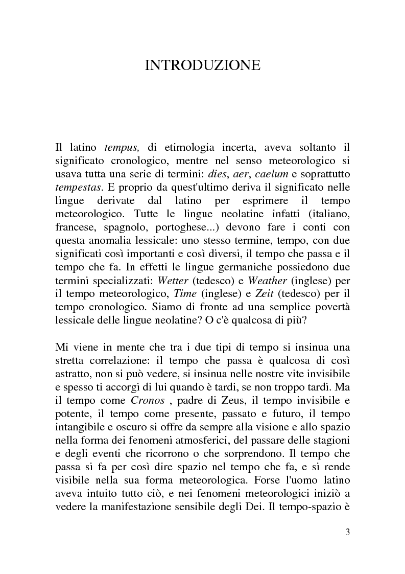 Anteprima della tesi: Lo spirito del tempo - Le previsioni meteorologiche tra informazione e costume, Pagina 1