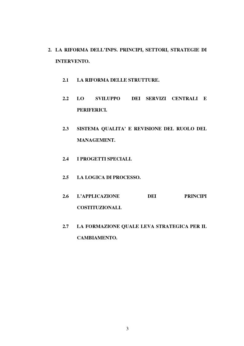 Indice della tesi: Amministrazione Pubblica e innovazione: il processo di riforma dell'INPS (1979-2005), Pagina 2