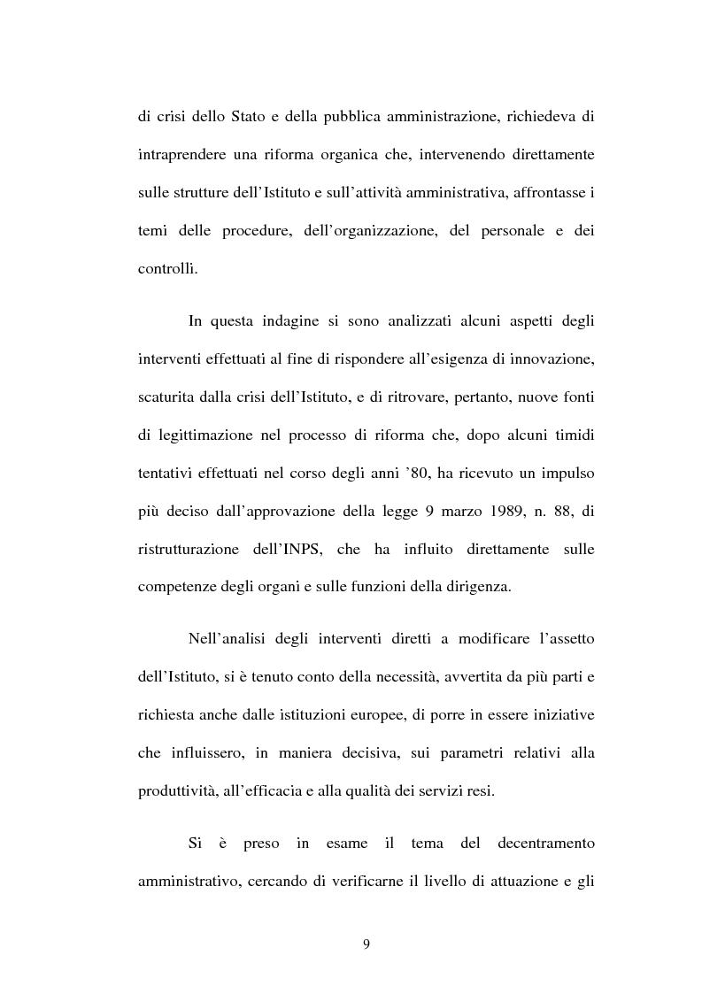 Anteprima della tesi: Amministrazione Pubblica e innovazione: il processo di riforma dell'INPS (1979-2005), Pagina 4