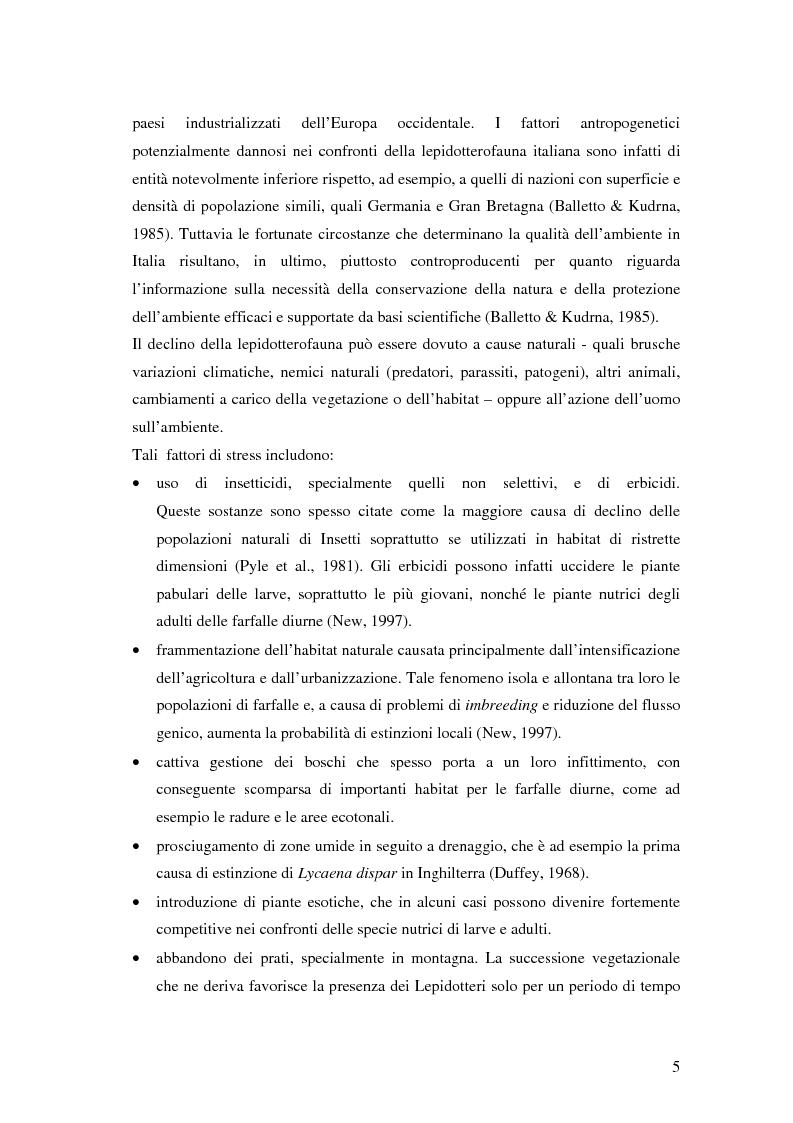 Anteprima della tesi: Studio dei popolamenti di Lepidotteri Ropaloceri (Lepidoptera: Rhopalocera) in prati delle prealpi bresciane comune di Monno (BS), Pagina 5