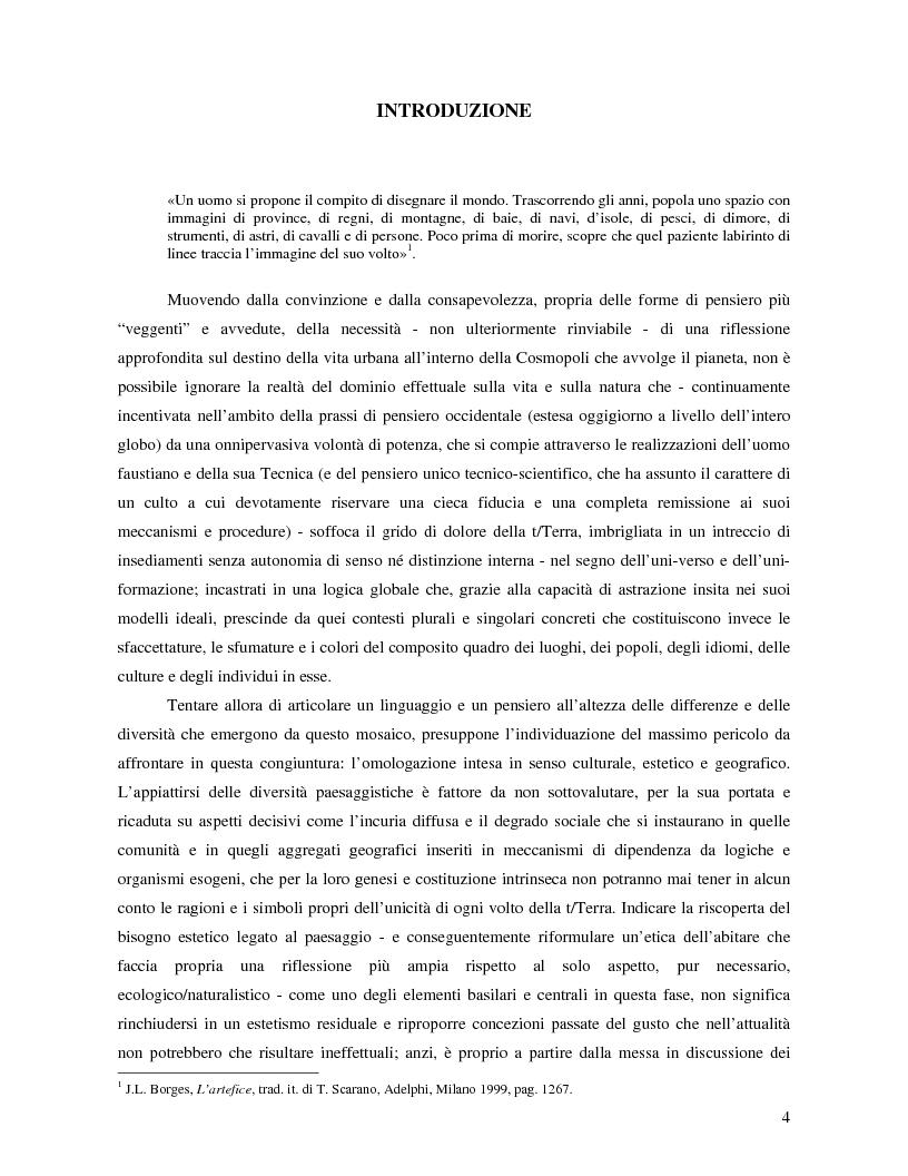 L'orizzonte filosofico del progetto locale - Tesi di Laurea