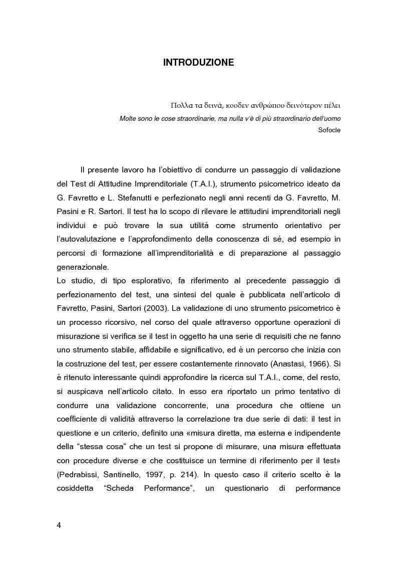 Anteprima della tesi: La validazione del Test di Attitudine Imprenditoriale (T.A.I.) attraverso un campione di imprenditori, Pagina 1