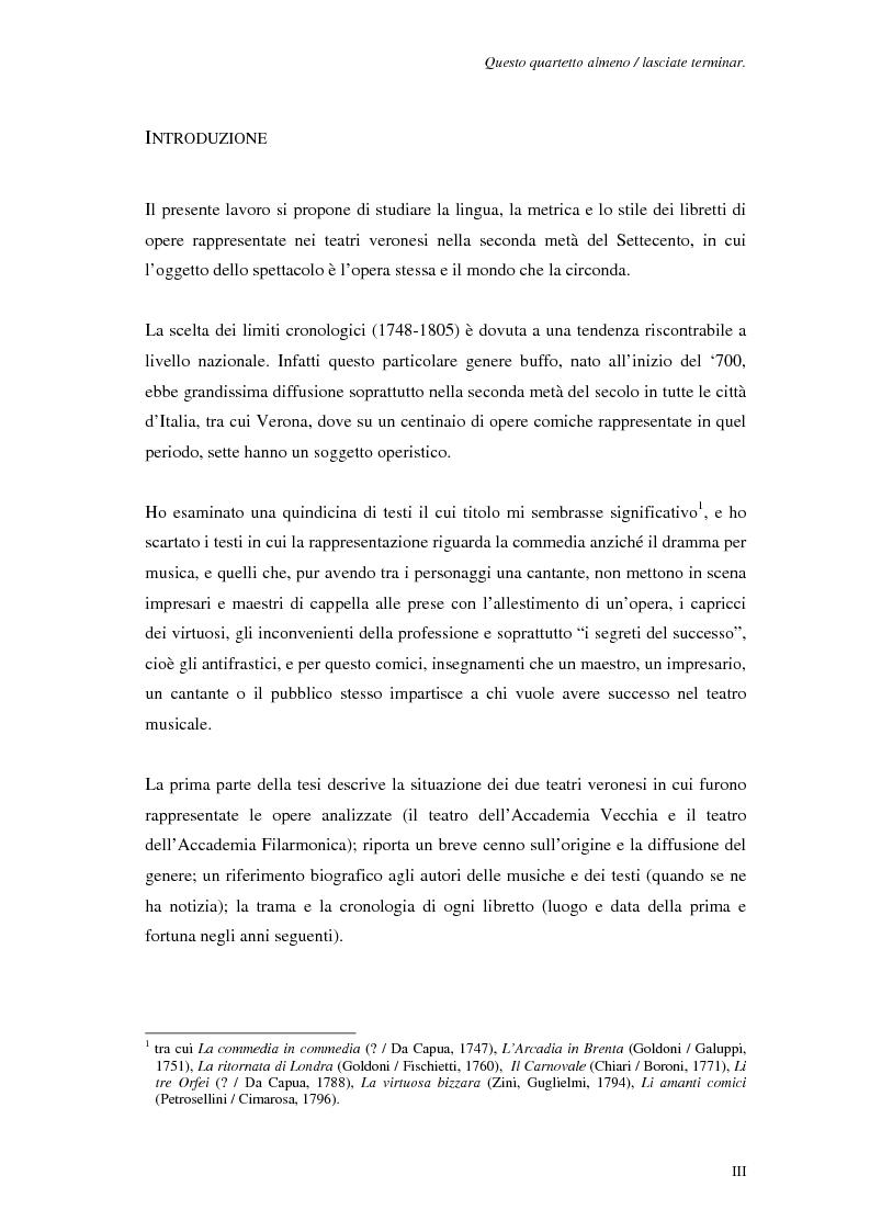Anteprima della tesi: Questo quartetto almeno lasciate terminar. L'opera dell'opera a Verona nei libretti settecenteschi., Pagina 1