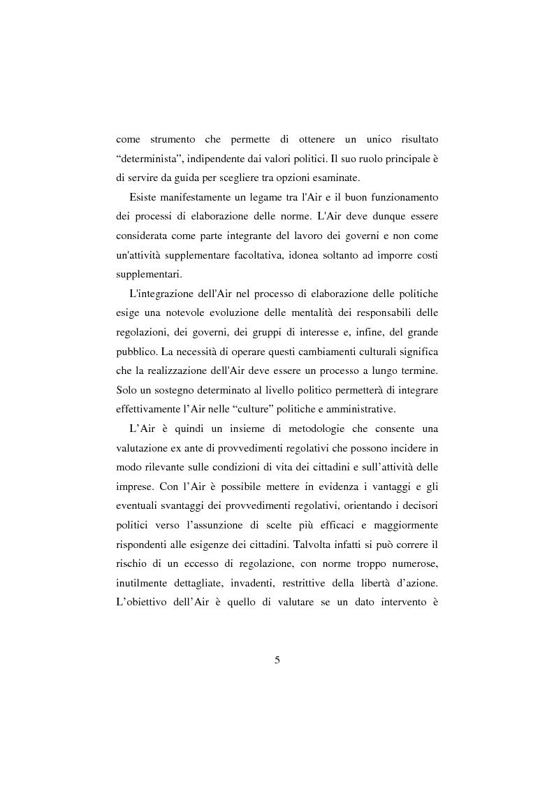 Anteprima della tesi: L' Analisi di Impatto Regolamentare dai profili comparati al caso pratico., Pagina 4