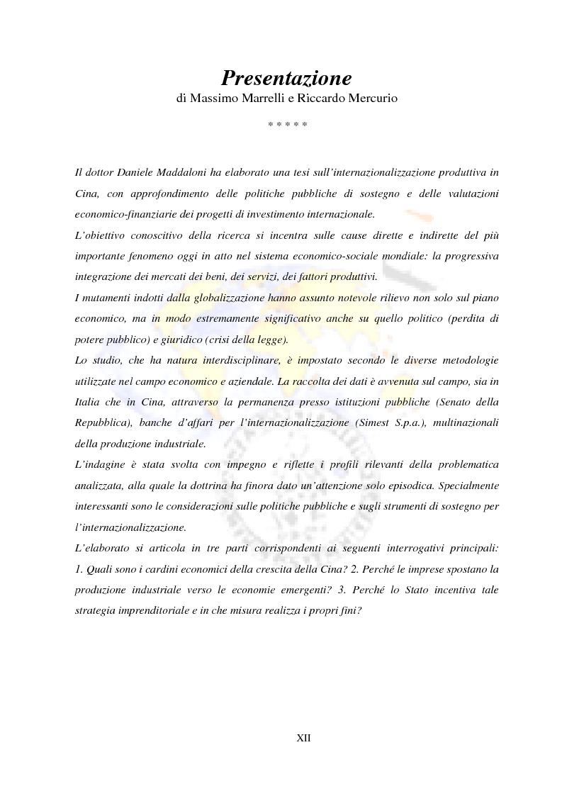 Anteprima della tesi: Internazionalizzazione produttiva in Cina - Politiche pubbliche e valutazioni economico-finanziarie, Pagina 1