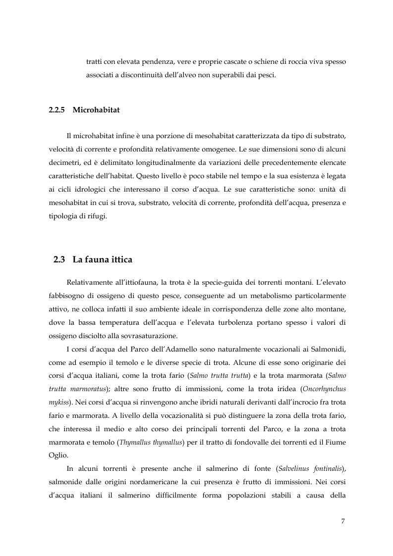 Anteprima della tesi: Caratterizzazione ecologica degli ambienti lotici del Parco dell'Adamello, Pagina 7