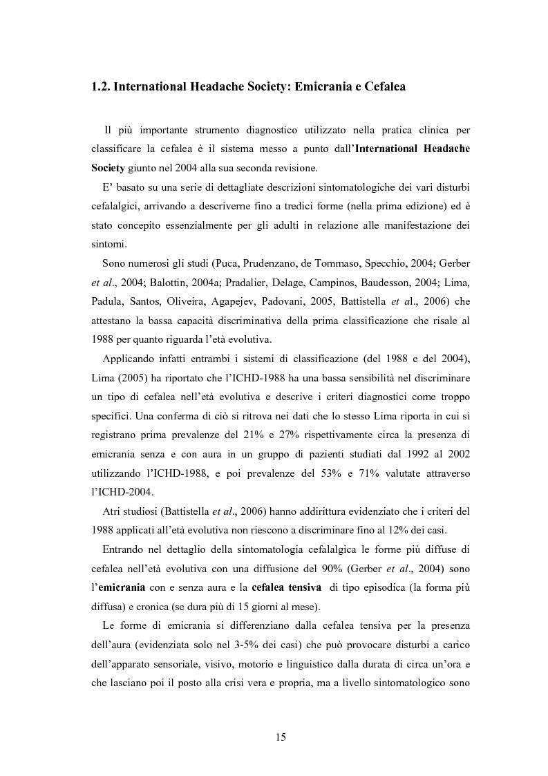 Anteprima della tesi: Aspetti neurofisiologici e correlati psicologici della cefalea in età evolutiva, Pagina 11