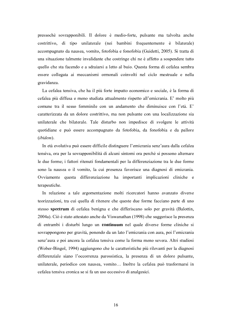 Anteprima della tesi: Aspetti neurofisiologici e correlati psicologici della cefalea in età evolutiva, Pagina 12