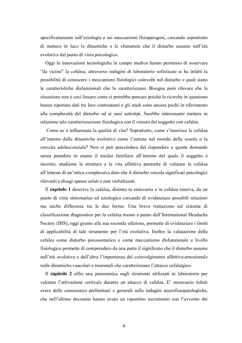 Anteprima della tesi: Aspetti neurofisiologici e correlati psicologici della cefalea in età evolutiva, Pagina 2