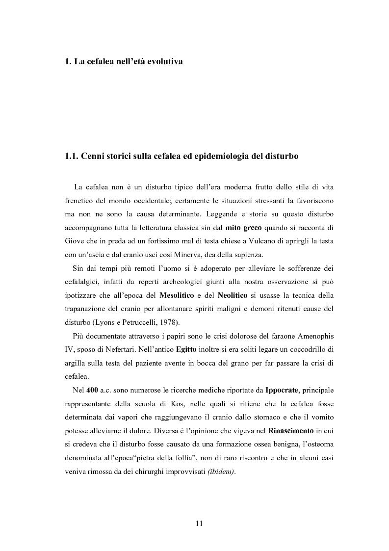 Anteprima della tesi: Aspetti neurofisiologici e correlati psicologici della cefalea in età evolutiva, Pagina 7