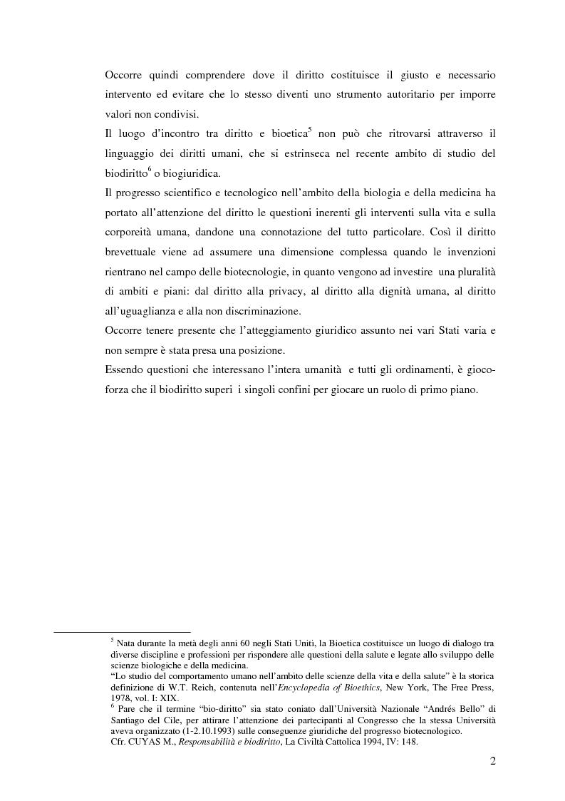 Anteprima della tesi: La protezione giuridica delle invenzioni biotecnologiche, Pagina 2