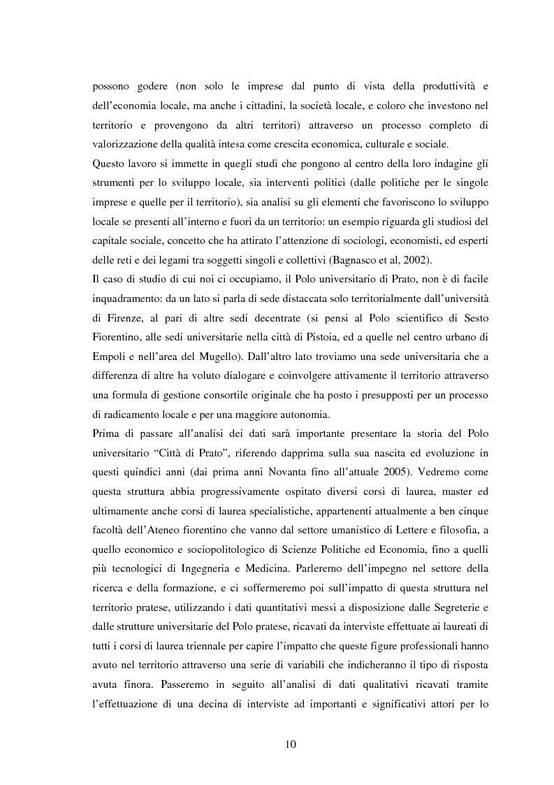 Anteprima della tesi: Università e Sviluppo Locale: il caso del Polo Universitario ''Città di Prato'', Pagina 6