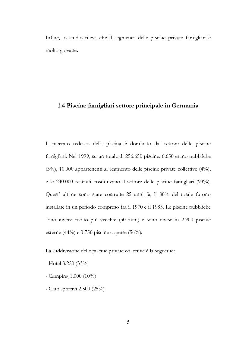 Anteprima della tesi: Il mercato delle piscine e del wellness. Il Salone Mondiale di Lyon ''Piscine 2006''., Pagina 5