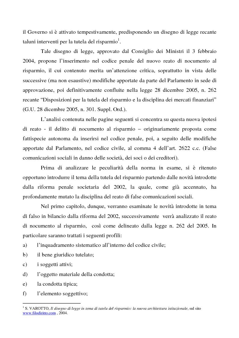 Anteprima della tesi: Il reato di nocumento al risparmio, Pagina 2