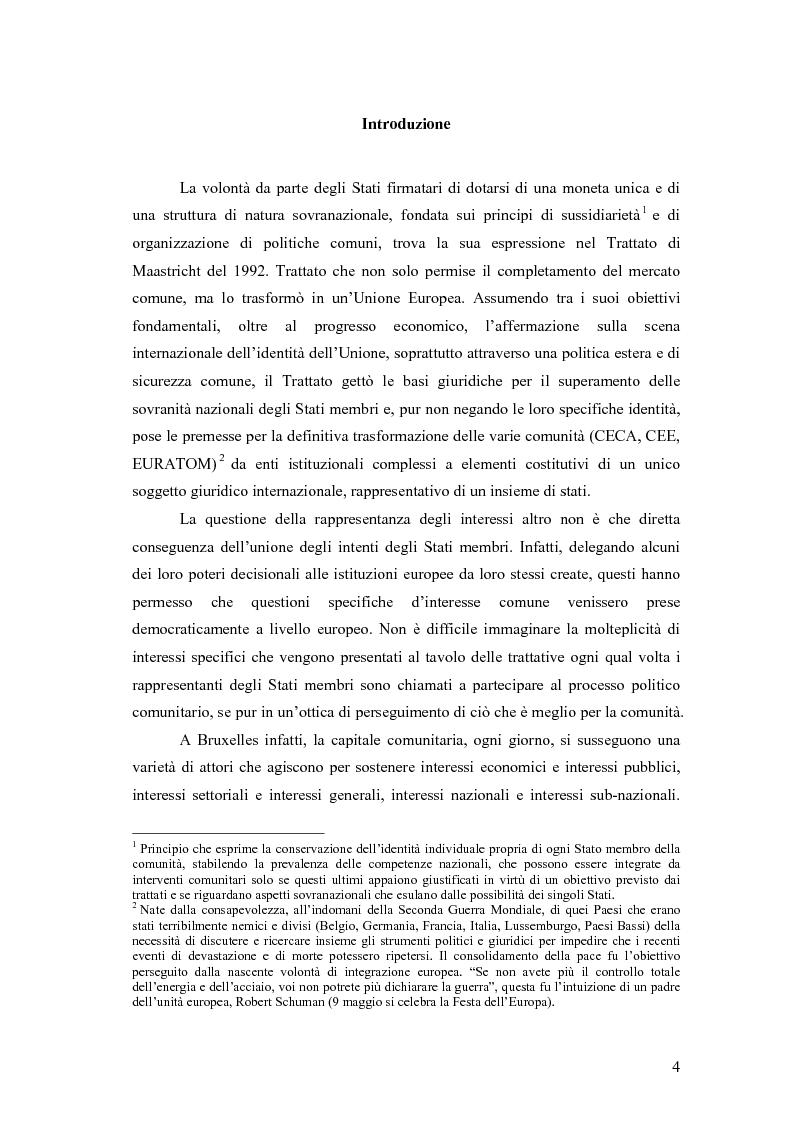Anteprima della tesi: La rappresentanza degli interessi a livello comunitario. Esperienze regionali a confronto, Pagina 1