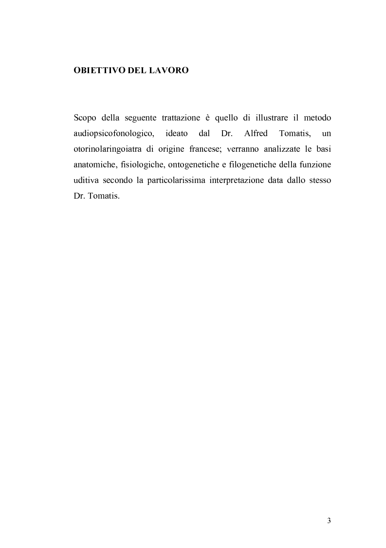Anteprima della tesi: Il metodo Tomatis: embriogenesi dell'organo dell'udito e delle basi del linguaggio, Pagina 1