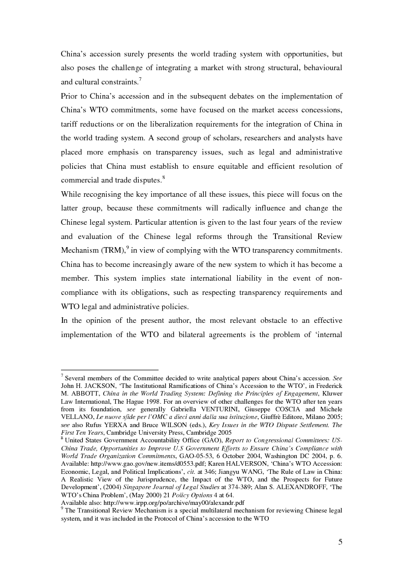 Anteprima della tesi: Five Years of China's Wto Membership. EU and US Perspectives on China's Compliance with Transparency Commitments and the Transitional Review Mechanism, Pagina 3