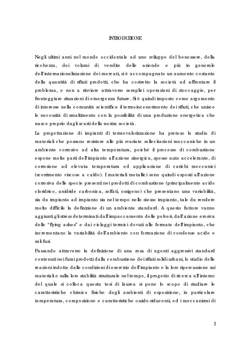 Anteprima della tesi: Comportamento all'esposizione a caldo in ambiente di HCl / CO2 di materiali metallici strutturali rivestiti e non per l'impiego in sistemi di termodistruzione di rifiuti, Pagina 1