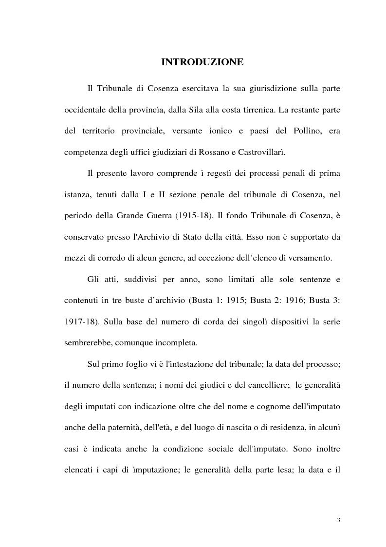 Anteprima della tesi: Processi e reati a Cosenza nella Grande Guerra: 1915-1918 - Regesti delle Sentenze, Pagina 1