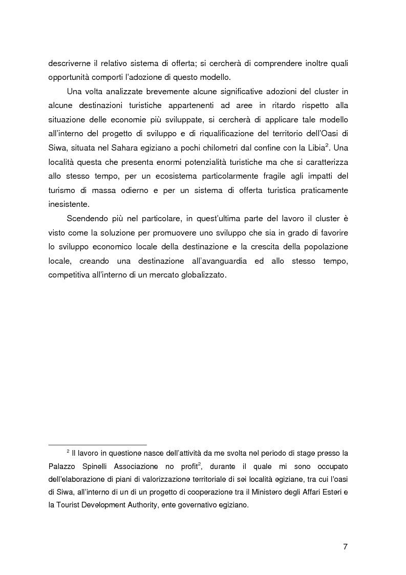 Anteprima della tesi: Destinazione e Cluster Turistici: un'applicazione all'Oasi egiziana di Siwa, Pagina 2