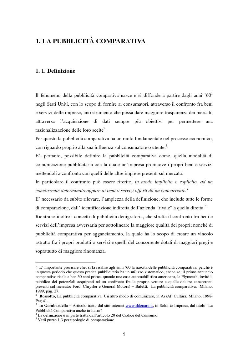 Anteprima della tesi: La pubblicità comparativa tra concorrenza e tutela del consumatore, Pagina 4