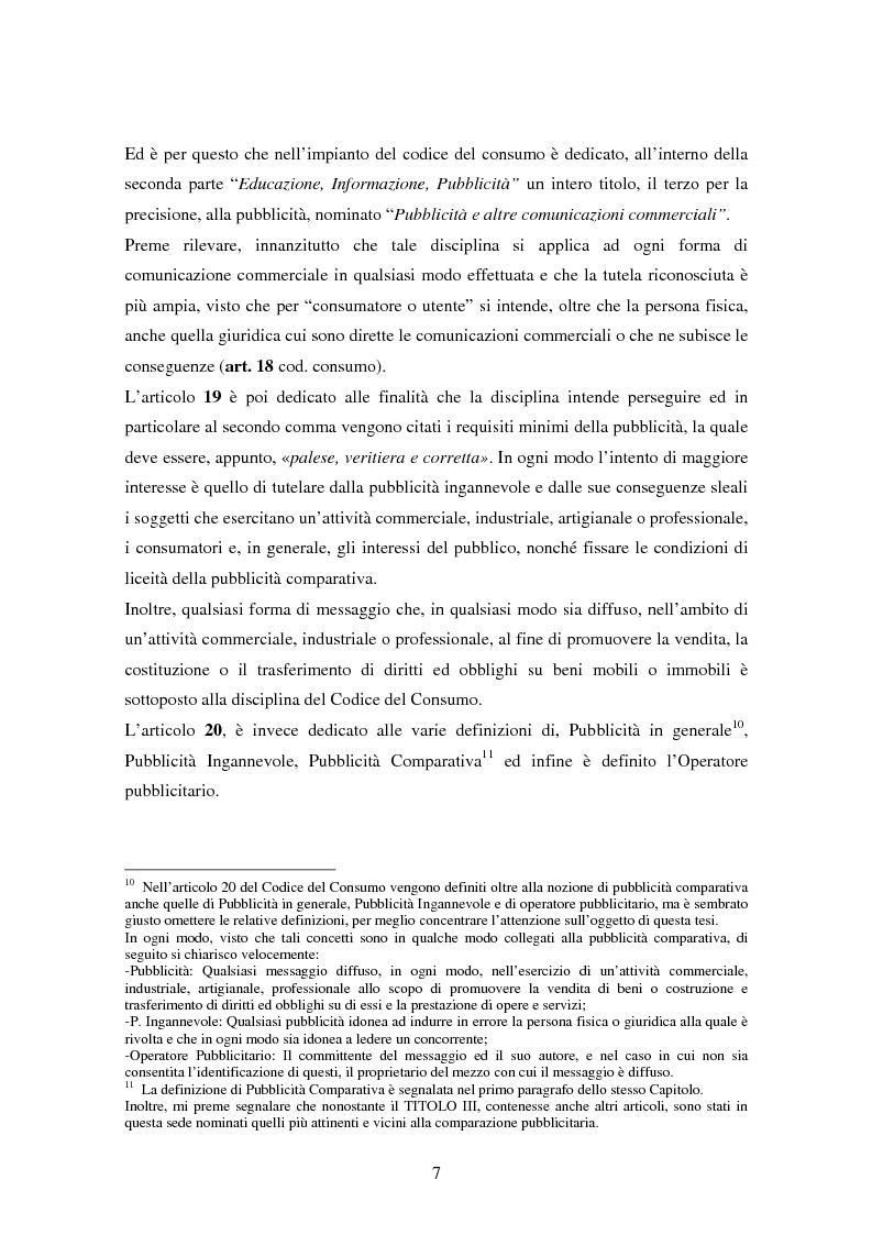 Anteprima della tesi: La pubblicità comparativa tra concorrenza e tutela del consumatore, Pagina 6