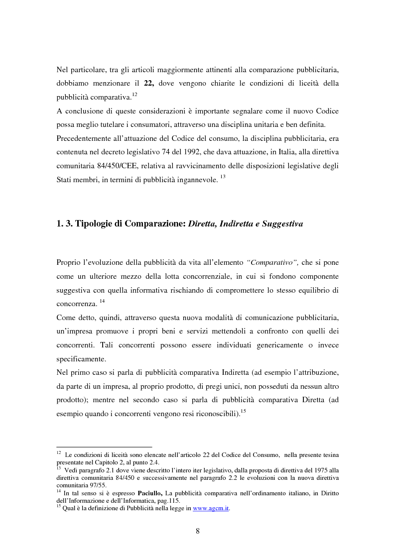 Anteprima della tesi: La pubblicità comparativa tra concorrenza e tutela del consumatore, Pagina 7
