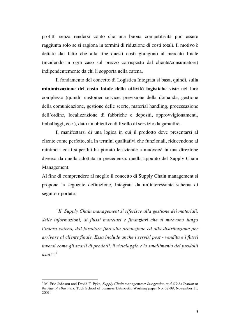 Anteprima della tesi: La logistica a monte: evoluzioni e tendenze. Lo studio di un caso, Pagina 3