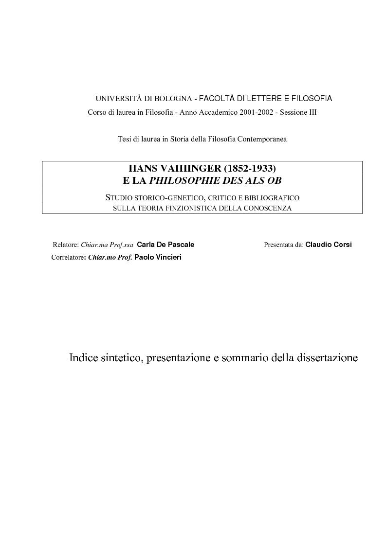 Anteprima della tesi: Hans Vaihinger (1852-1933) e la 'Philosophie des Als Ob'. Studio storico-genetico, critico e bibliografico sulla teoria finzionistica della conoscenza, Pagina 1