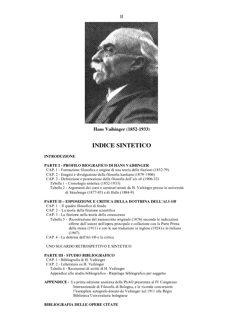 Anteprima della tesi: Hans Vaihinger (1852-1933) e la 'Philosophie des Als Ob'. Studio storico-genetico, critico e bibliografico sulla teoria finzionistica della conoscenza, Pagina 2