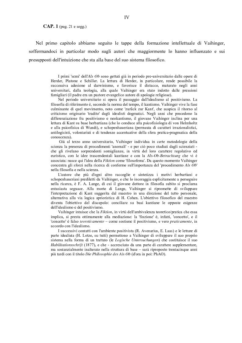 Anteprima della tesi: Hans Vaihinger (1852-1933) e la 'Philosophie des Als Ob'. Studio storico-genetico, critico e bibliografico sulla teoria finzionistica della conoscenza, Pagina 4