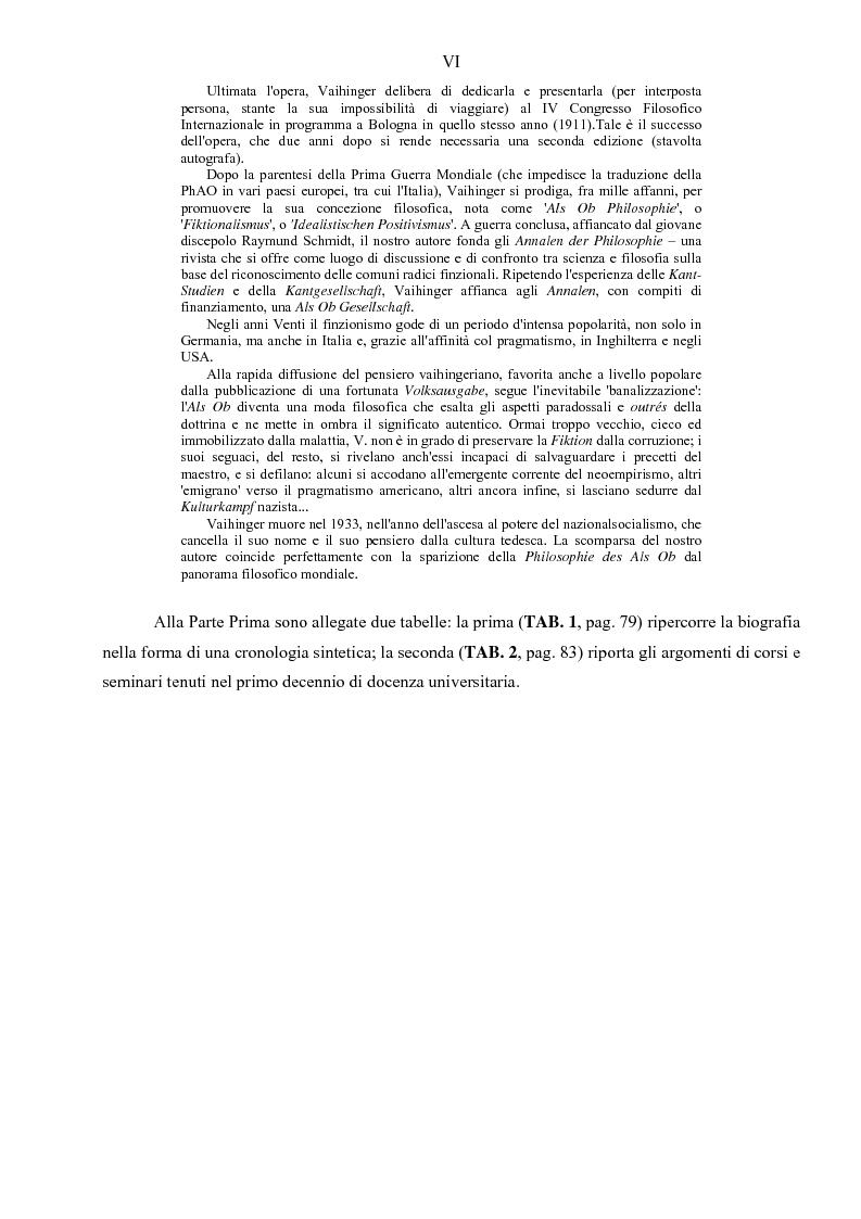 Anteprima della tesi: Hans Vaihinger (1852-1933) e la 'Philosophie des Als Ob'. Studio storico-genetico, critico e bibliografico sulla teoria finzionistica della conoscenza, Pagina 6