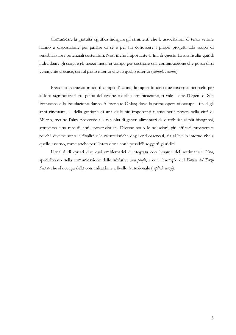 Anteprima della tesi: Comunicare la gratuità. Il caso dell'Opera di San Francesco e del Banco Alimentare, Pagina 2