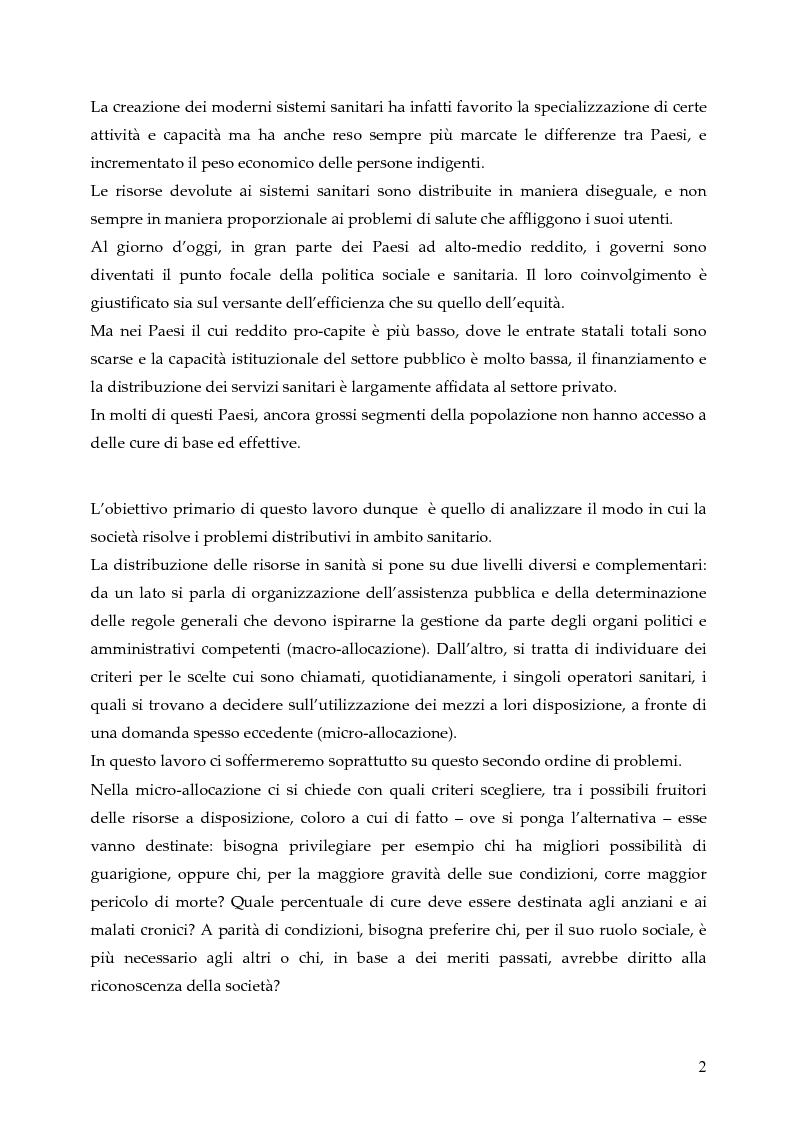 Anteprima della tesi: L'allocazione delle risorse economiche e il problema dell'equità in ambito sanitario: un'indagine sul comportamento del personale medico, Pagina 2