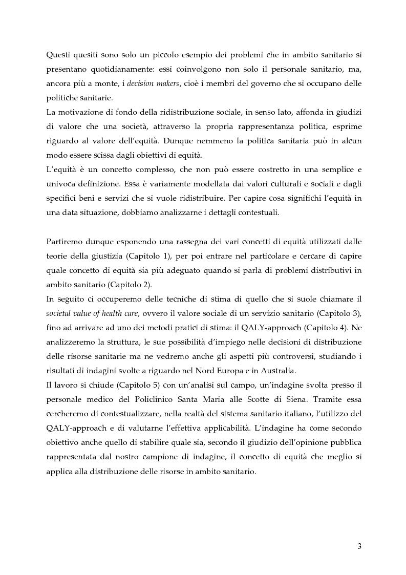 Anteprima della tesi: L'allocazione delle risorse economiche e il problema dell'equità in ambito sanitario: un'indagine sul comportamento del personale medico, Pagina 3