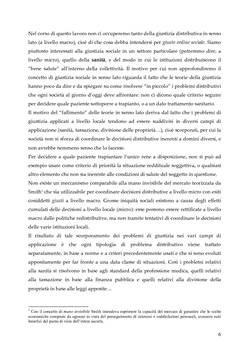 Anteprima della tesi: L'allocazione delle risorse economiche e il problema dell'equità in ambito sanitario: un'indagine sul comportamento del personale medico, Pagina 6