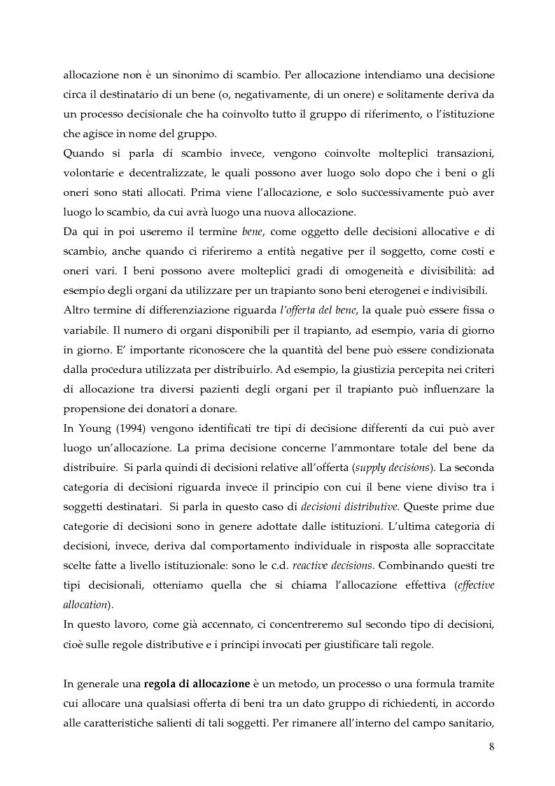 Anteprima della tesi: L'allocazione delle risorse economiche e il problema dell'equità in ambito sanitario: un'indagine sul comportamento del personale medico, Pagina 8