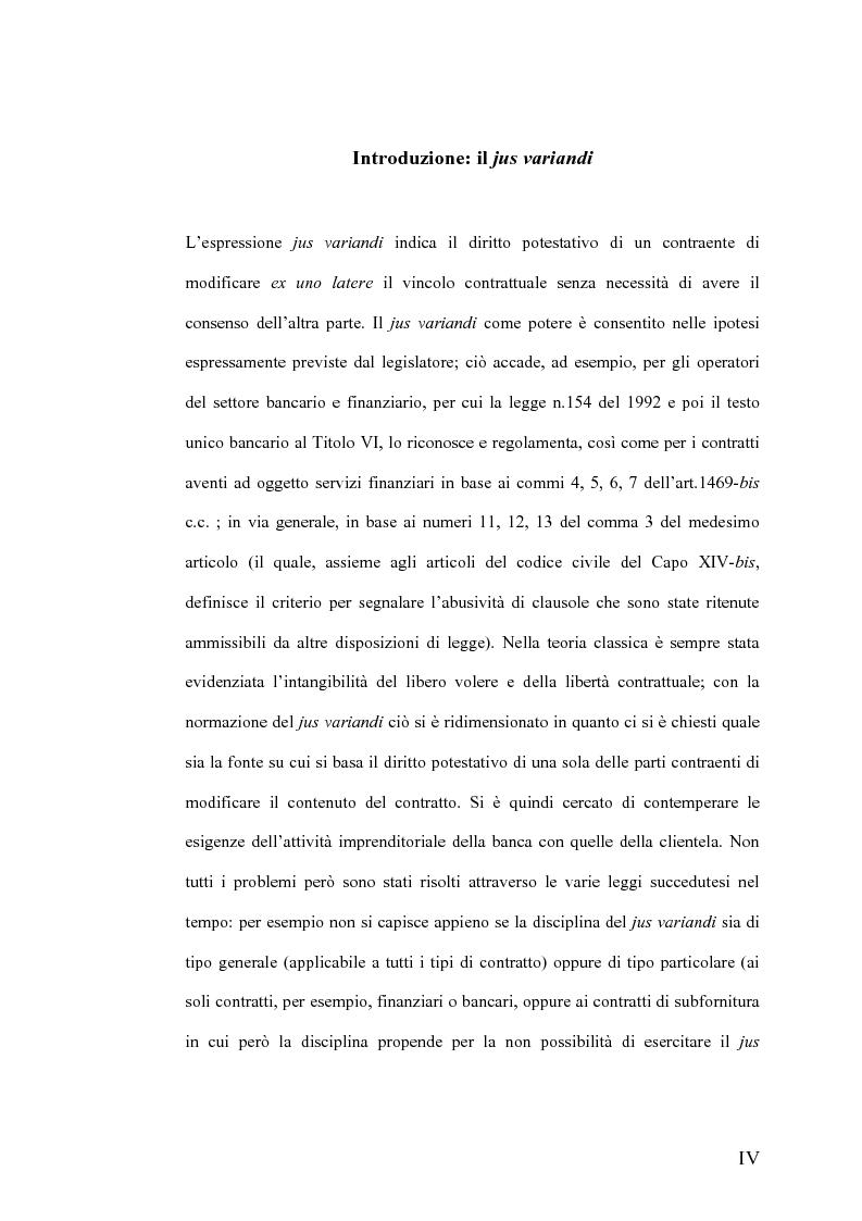 Anteprima della tesi: Il Jus Variandi nei contratti bancari di finanziamento, Pagina 1