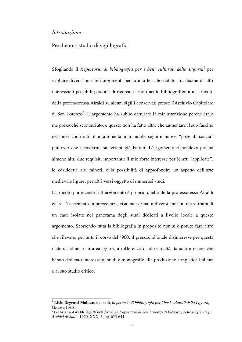 Anteprima della tesi: Sigillografia e sfragistica ligure medievale: indagini e proposte, Pagina 1